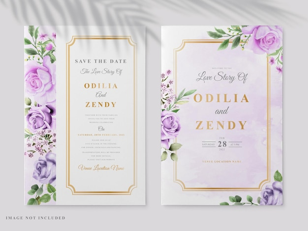 Piękny kwiatowy ręcznie rysowane zaproszenia ślubne