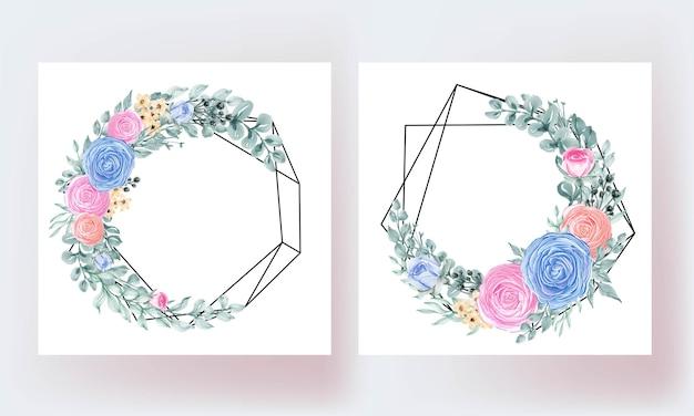 Piękny kwiatowy róży liście rama geometryczny szablon