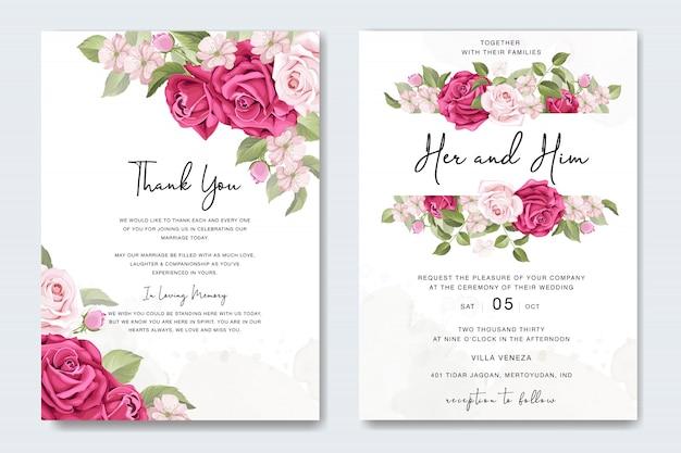 Piękny kwiatowy ślub karty z różami szablon ramki
