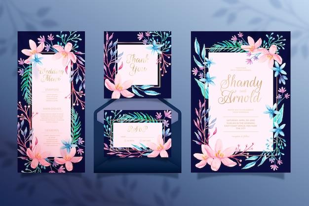 Piękny kwiatowy ślub papeterii