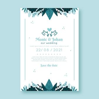 Piękny kwiatowy ślub szablon karty