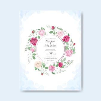 Piękny kwiatowy ślub zaproszenia i szablonu