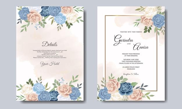 Piękny kwiatowy ślub zaproszenia szablonu karty premium
