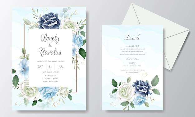 Piękny kwiatowy ślub zaproszenia szablonu karty zestaw z akwarelą