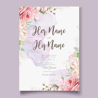 Piękny kwiatowy ślub zaproszenia szablonu karty