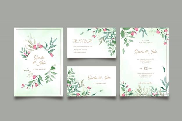 Piękny kwiatowy ślub zaproszenia szablonu zestaw szablonów