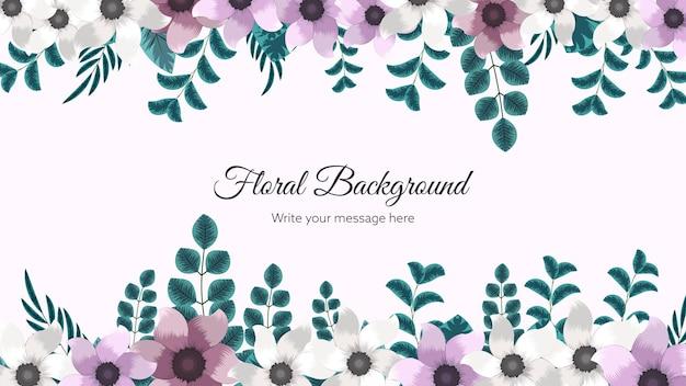 Piękny kwiatowy szablon tła ramki z miękkimi kwiatami natury pozostawia miejsca na tekst oddziałów
