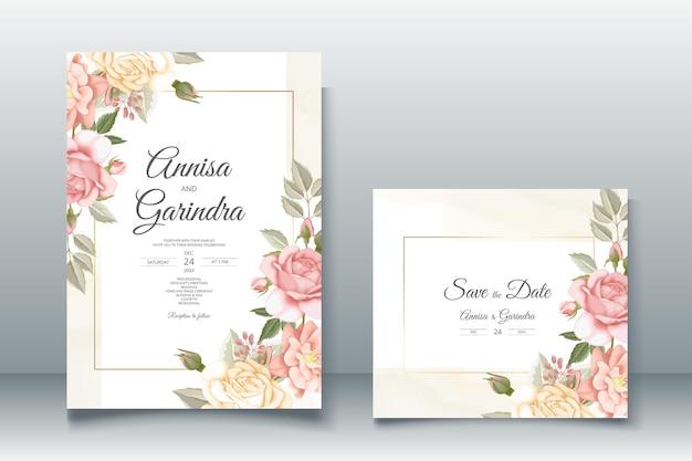 Piękny kwiatowy szablon zaproszenia na ślub premium wektorów