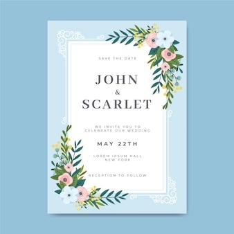 Piękny Kwiatowy Szablon Zaproszenia Na ślub Darmowych Wektorów