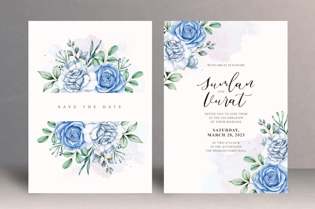 Piękny kwiatowy szablon zaproszenia ślubnego