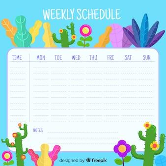 Piękny kwiatowy tygodniowy harmonogram z płaskimi projektami