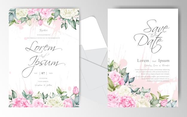 Piękny kwiatowy układ zaproszenia ślubne szablon karty zestaw