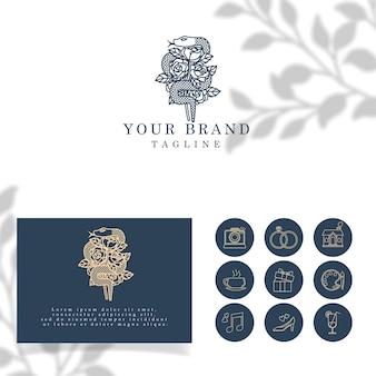 Piękny kwiatowy wąż elegancki line art logo edytowalny szablon