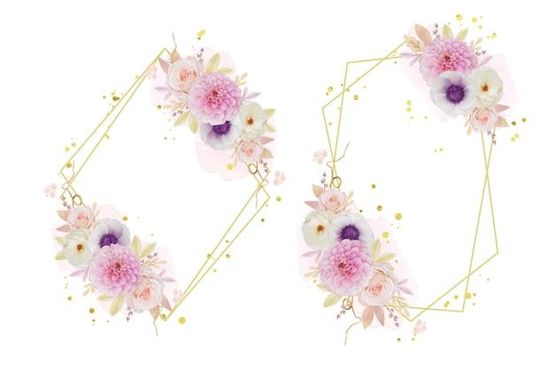 Piękny kwiatowy wianek z akwarelą różanej dalii i anemonowego kwiatu