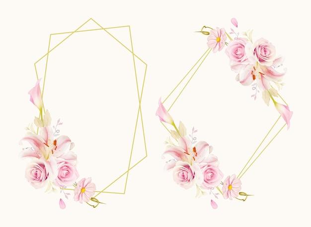 Piękny kwiatowy wianek z akwarelą różowych róż lilii i lilii calla