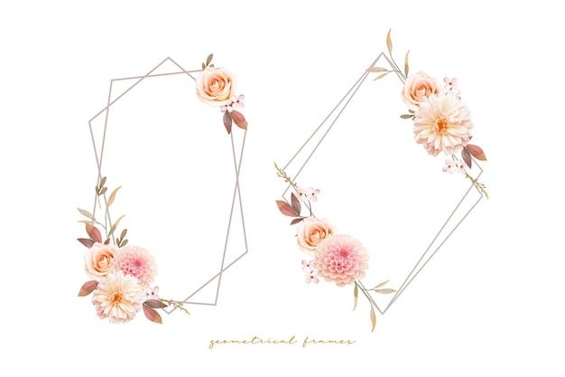 Piękny kwiatowy wianek z akwarelowymi daliami i różą