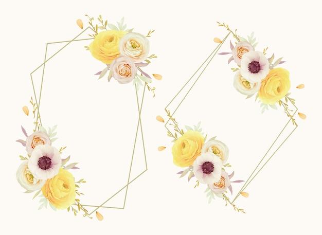 Piękny kwiatowy wianek z akwarelowymi różami jaskier i kwiatami zawilca