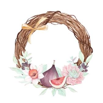 Piękny kwiatowy wianek z figami i narcyzem