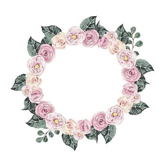 Piękny kwiatowy wieniec akwarelowy z różami