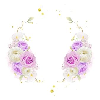 Piękny kwiatowy wieniec z akwarelą fioletowej róży lilii i kwiatem jaskier