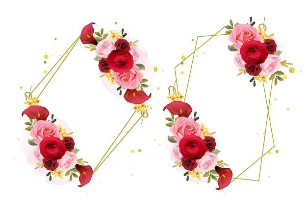 Piękny kwiatowy wieniec z akwarelową czerwoną różą lilią i kwiatem jaskier