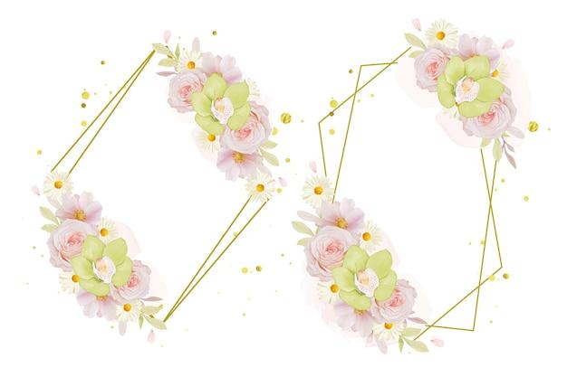 Piękny kwiatowy wieniec z akwarelową różą i zieloną orchideą