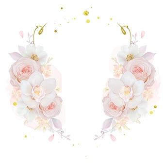 Piękny kwiatowy wieniec z akwarelową różową orchideą i kwiatem anemonowym