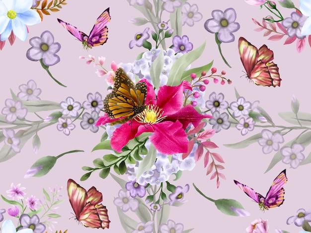 Piękny kwiatowy wzór akwarela