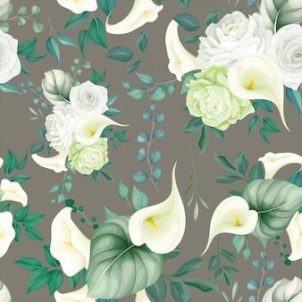 Piękny kwiatowy wzór biała lilia i róża