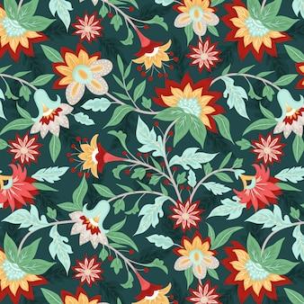 Piękny kwiatowy wzór ludowy