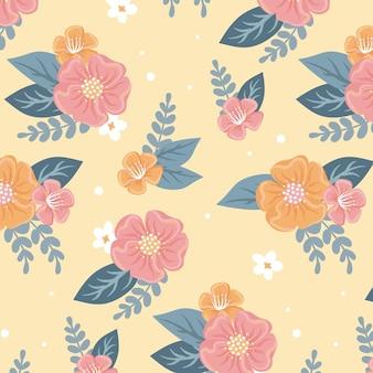 Piękny kwiatowy wzór na żółtym tle
