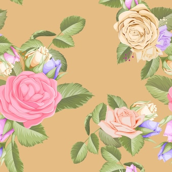 Piękny kwiatowy wzór z bukietem róż