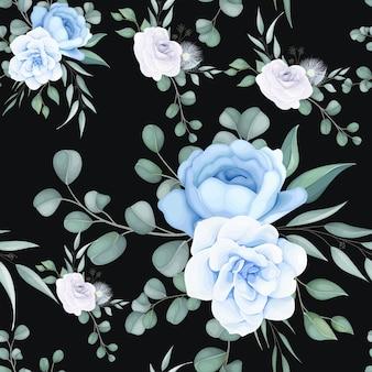 Piękny kwiatowy wzór z delikatnym ornamentem roślinnym