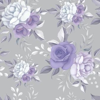 Piękny kwiatowy wzór z fioletowymi kwiatami