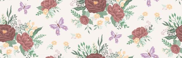 Piękny kwiatowy wzór z kwiatami i motylem.