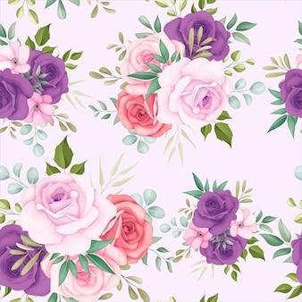 Piękny kwiatowy wzór z pięknymi kwiatami