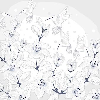 Piękny kwiatowy wzór z podszewką dla ptaków.