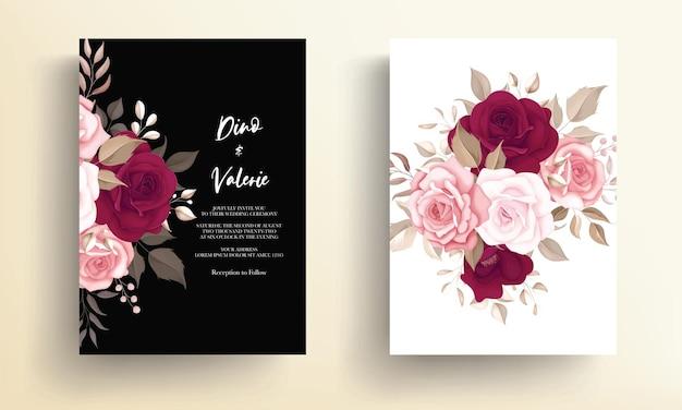 Piękny kwiatowy wzór zaproszenia ślubne