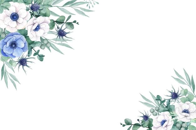 Piękny kwiatowy z kwiatami anemonowymi i liśćmi eukaliptusa