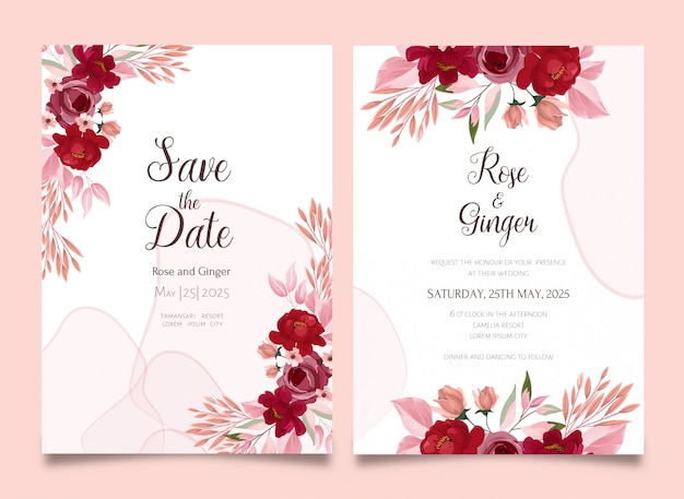 Piękny kwiatowy zaproszenia ślubne zestaw szablonów kart