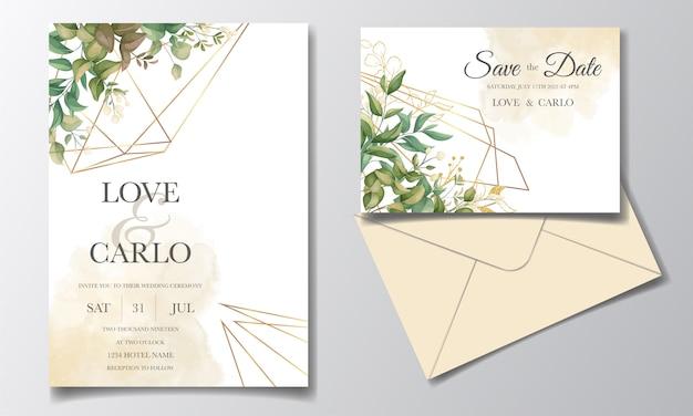 Piękny kwiatowy zaproszenia ślubne zestaw szablonów z dekoracją złotych liści