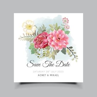 Piękny kwiatowy zaproszenia ślubne