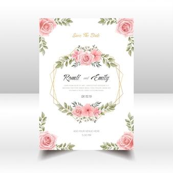 Piękny kwiatowy zaproszenie na ślub karty akwarela ramki