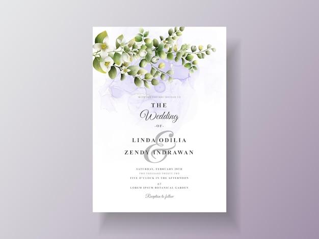 Piękny kwiatowy zaproszenie na ślub szablon