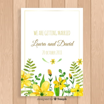 Piękny kwiatowy zaproszenie na ślub z złotej ramie
