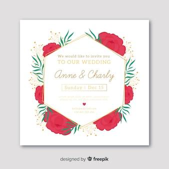 Piękny kwiatowy zaproszenie na ślub