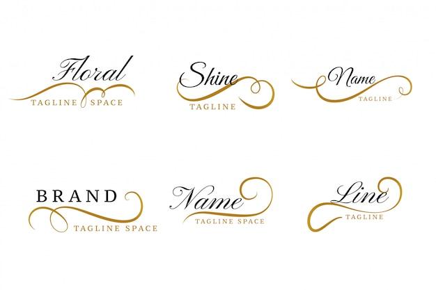 Piękny kwiatowy zestaw ozdobnych logo kolekcji