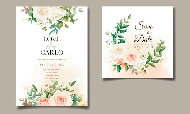 Piękny kwiatowy zestaw szablonów zaproszenia ślubne ramki