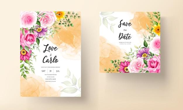 Piękny kwitnący kwiat akwarela karta zaproszenie na ślub