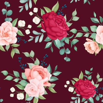 Piękny kwitnący kwiatowy i liści wzór